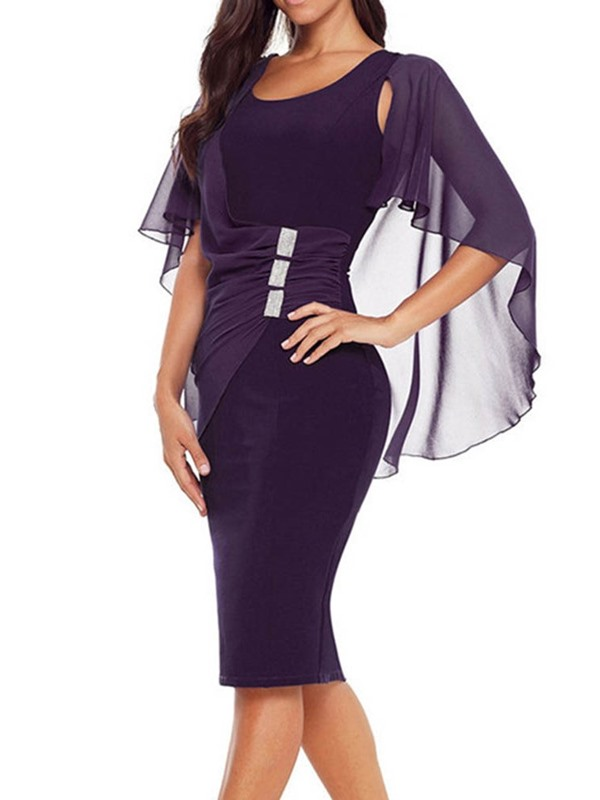 Knee-Length Short Sleeve Patchwork Bodycon Pullover Women's Dress