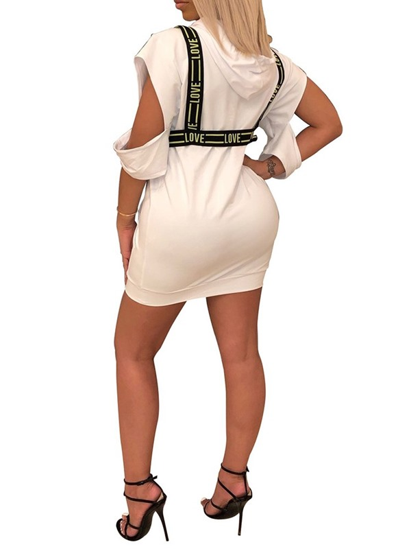 Above Knee Hooded Pocket Mid Waist Women's Bodycon Dress