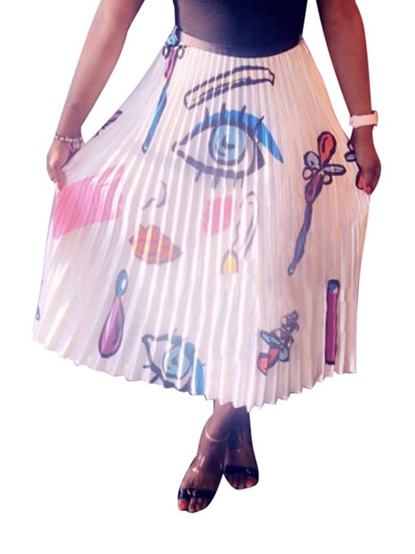 Pleated Heart Shaped Ankle-Length Casual Women's Skirt