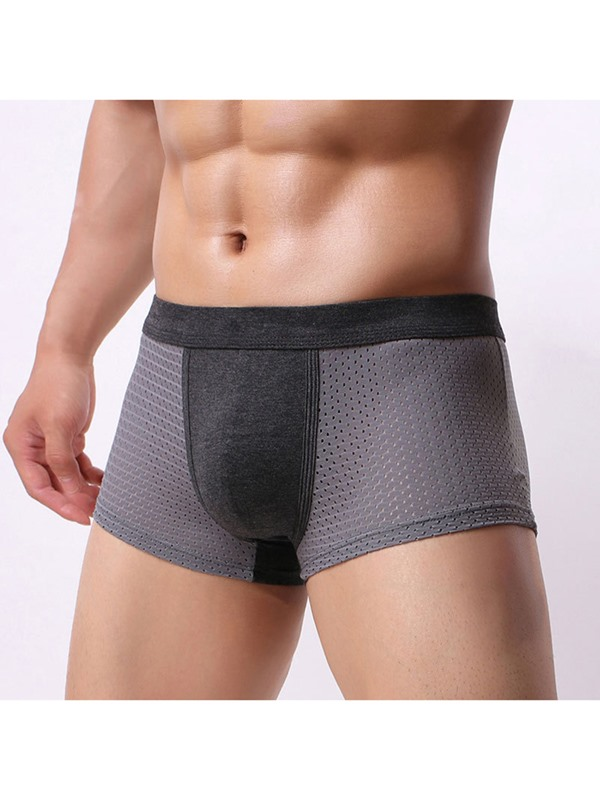 Plain Modal Hollow Breathable Low Waist Men's Boxer Brief