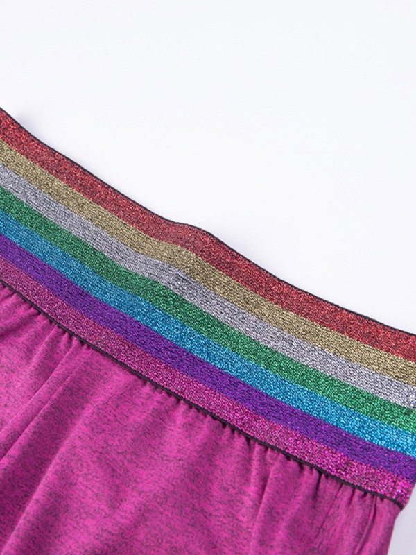 Rainbow Patchwork Shorts Summer Gym Sports Yoga Pants