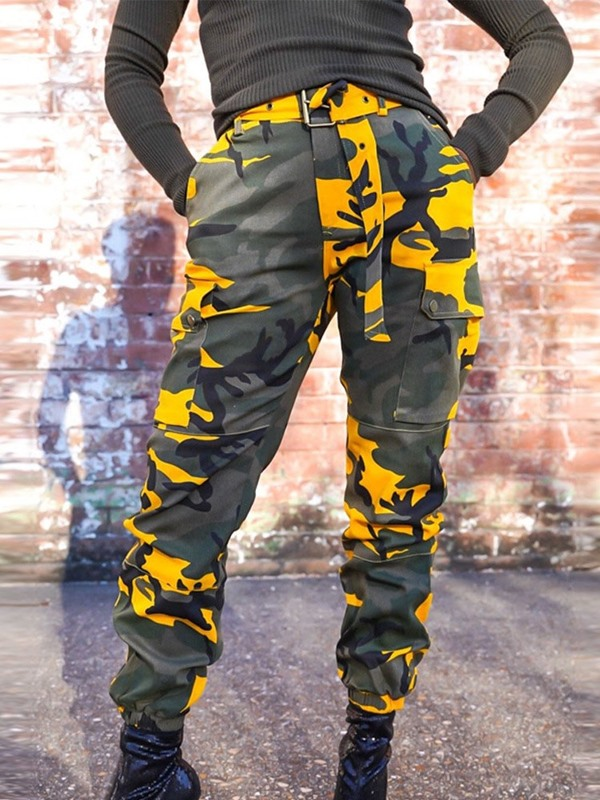 Loose Camouflage Belt Mid Waist Full Length Women's Casual Pants