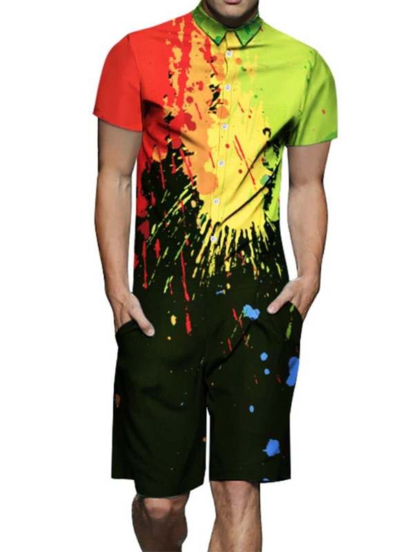 Summer Shirt Shorts Paint Splatters Color Block Men's Outfit