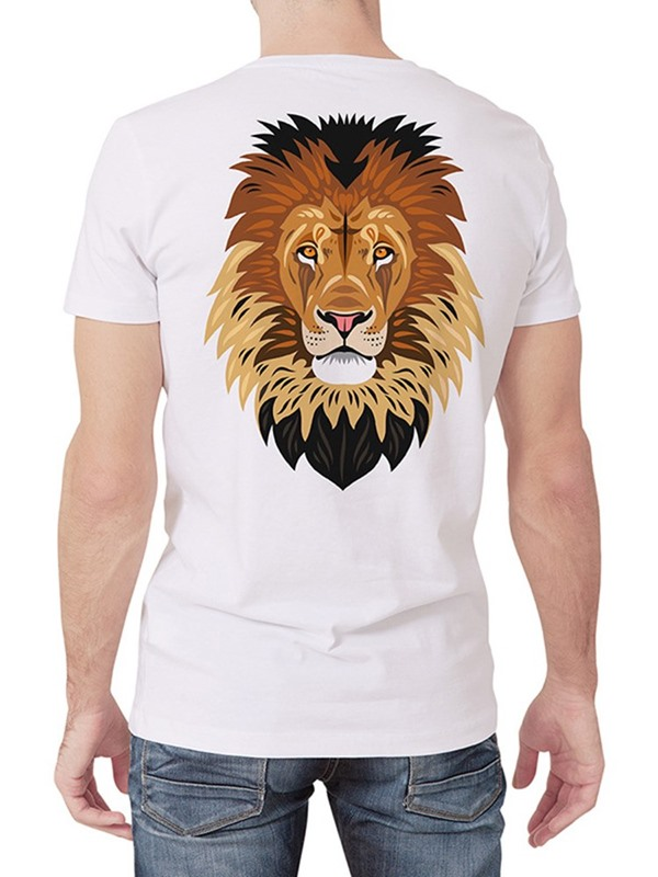 Animal Lion Print Casual Round Neck Men's T-Shirt