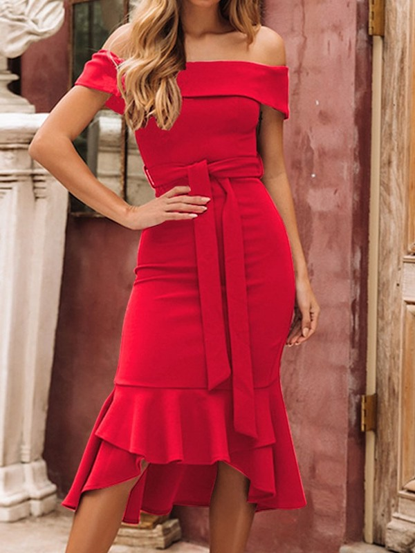Mid-Calf Off Shoulder Lace-Up Elegant Women's Dress