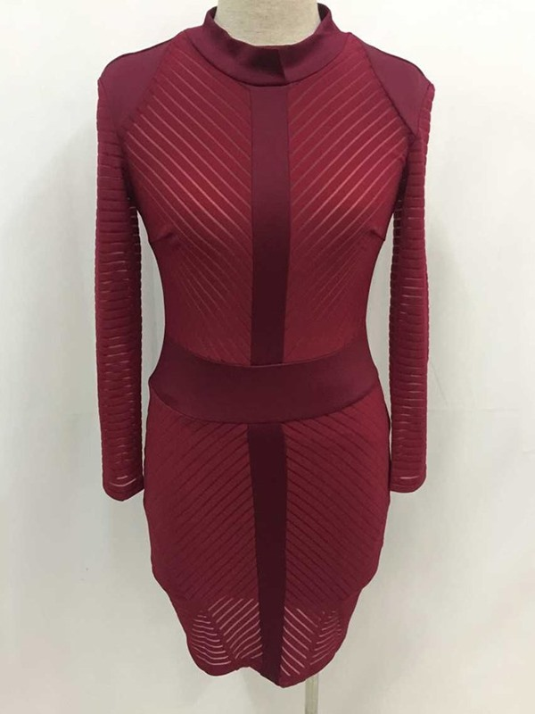 Above Knee Stand Collar Long Sleeve Women's Bodycon Dress