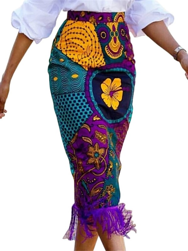 Africa Fashion Mid-Calf Floral Bodycon Women's Skirt