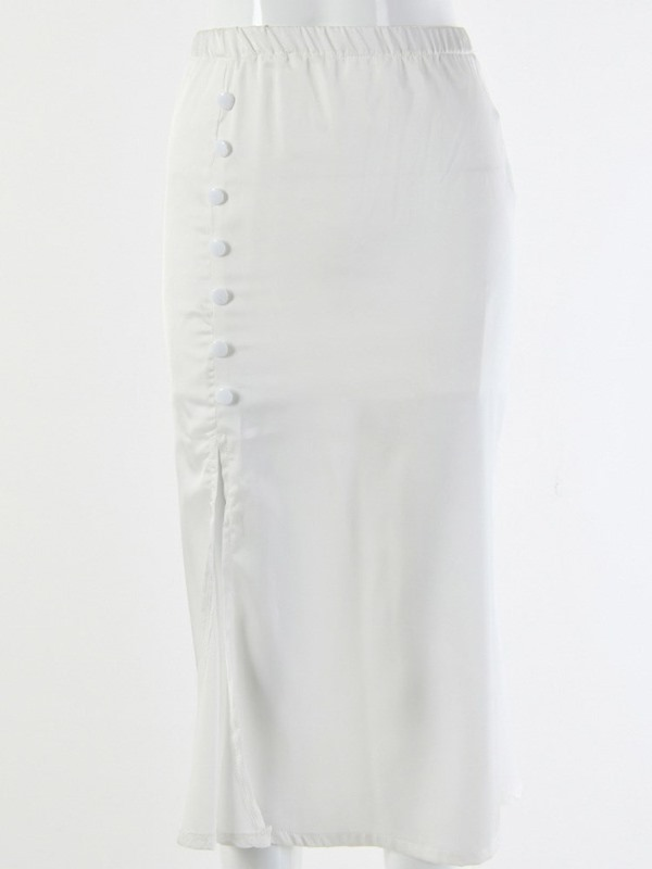 Plain Mid-Calf Button Women's Skirt