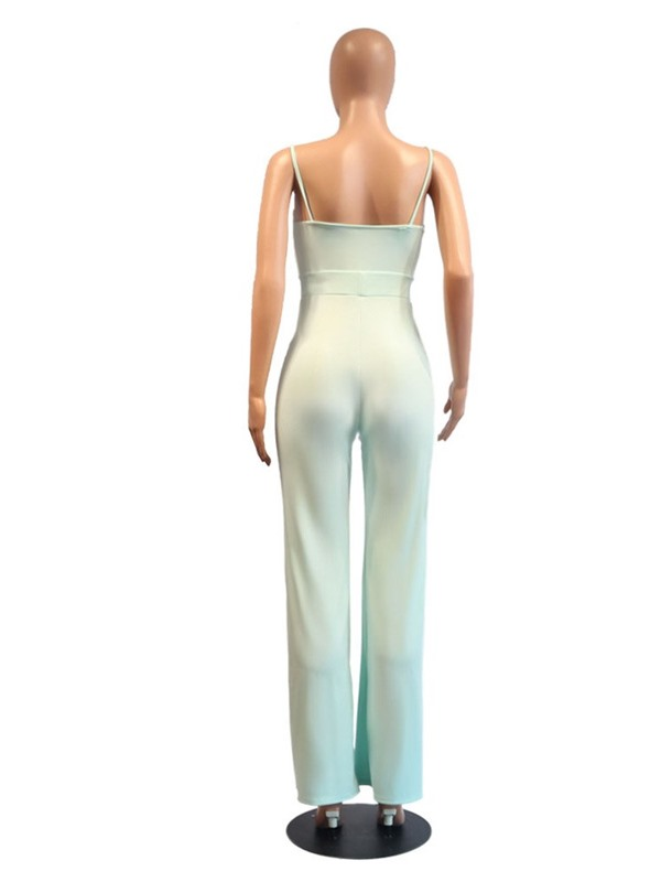 Color Block Full Length Western Slim Straight Women's Jumpsuit