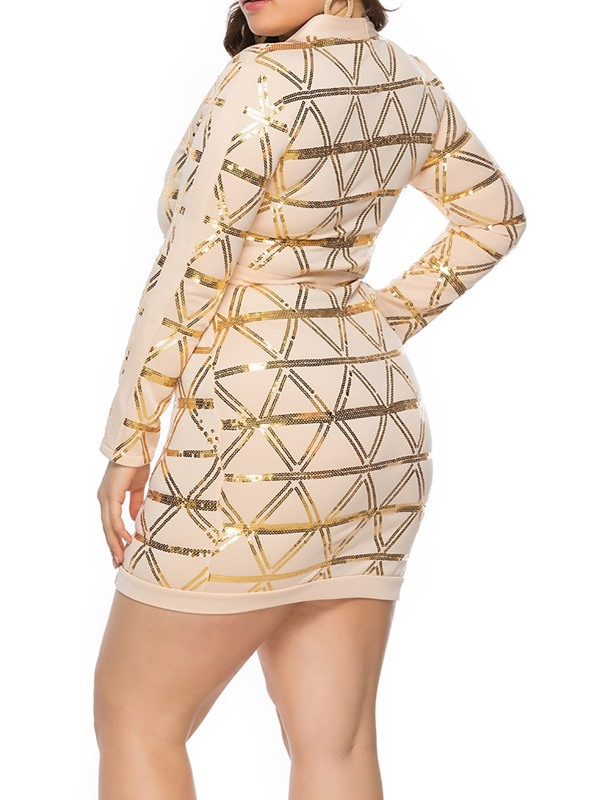 Plus Size V-Neck Sequins Long Sleeve Women's Dress