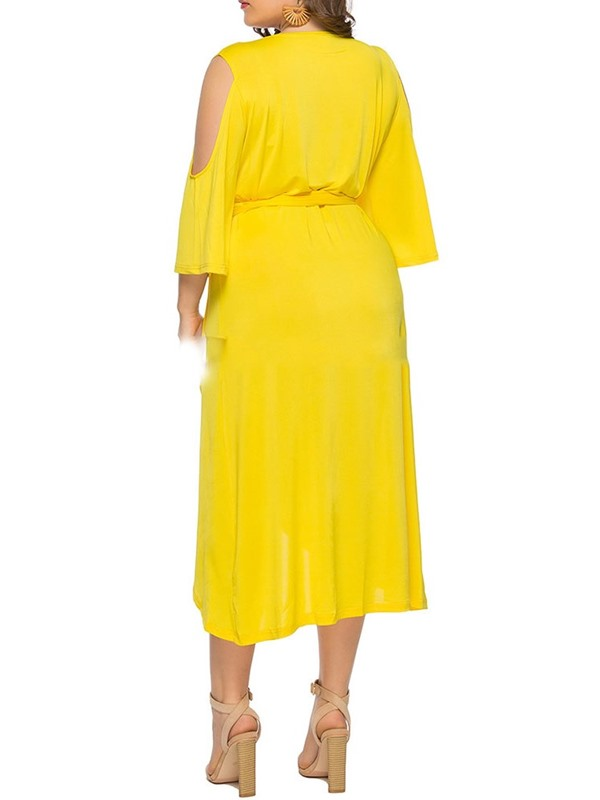 Pleated Mid-Calf Long Sleeve Off Shoulde Plus Size Women's Dress
