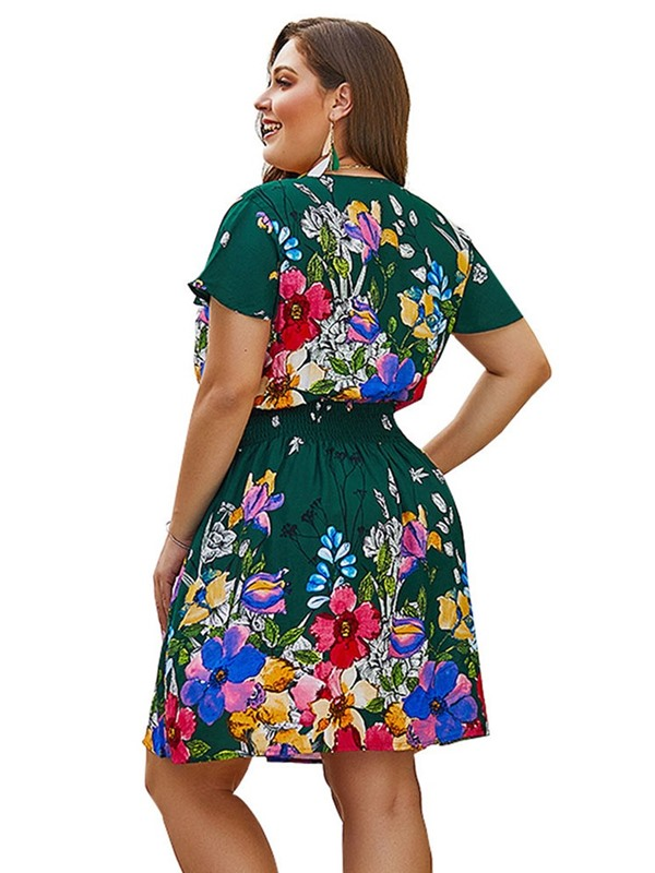 Short Sleeve V-Neck Print Plus Size Women's Dress