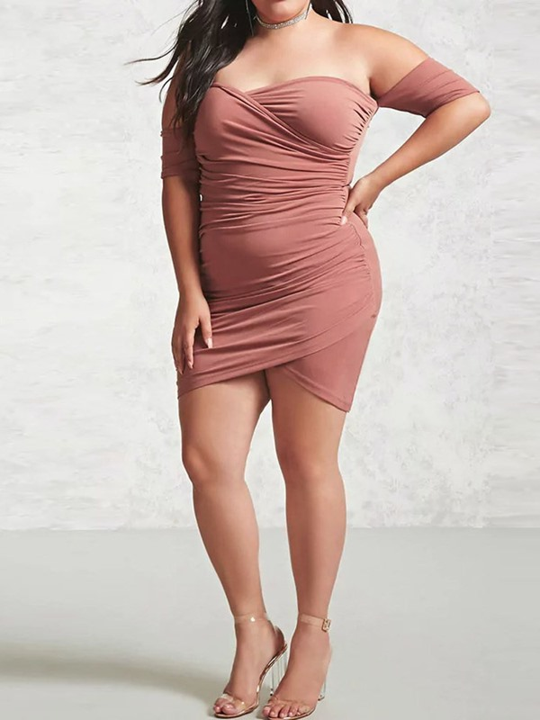 Backless Above Knee Half Sleeve Bodycon Plus Size Women's Dress