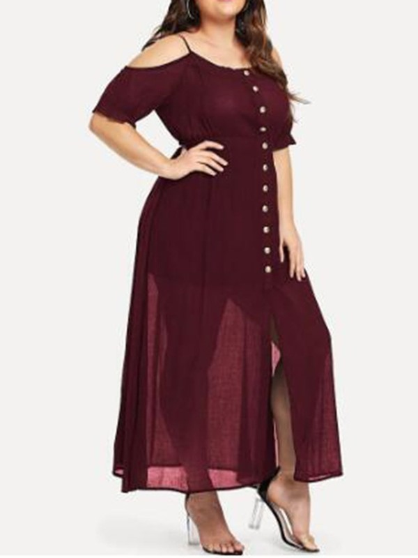 Plus Size Ankle-Length Button Casual Pullover Women's Dress