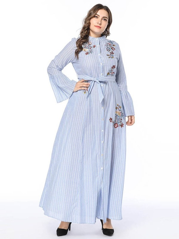 Lace-Up Ankle-Length Stand Collar Women's Dress