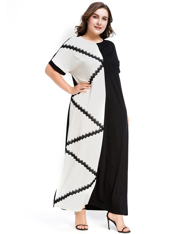 Patchwork Ankle-Length Round Neck Color Block Pullover Women's Dress