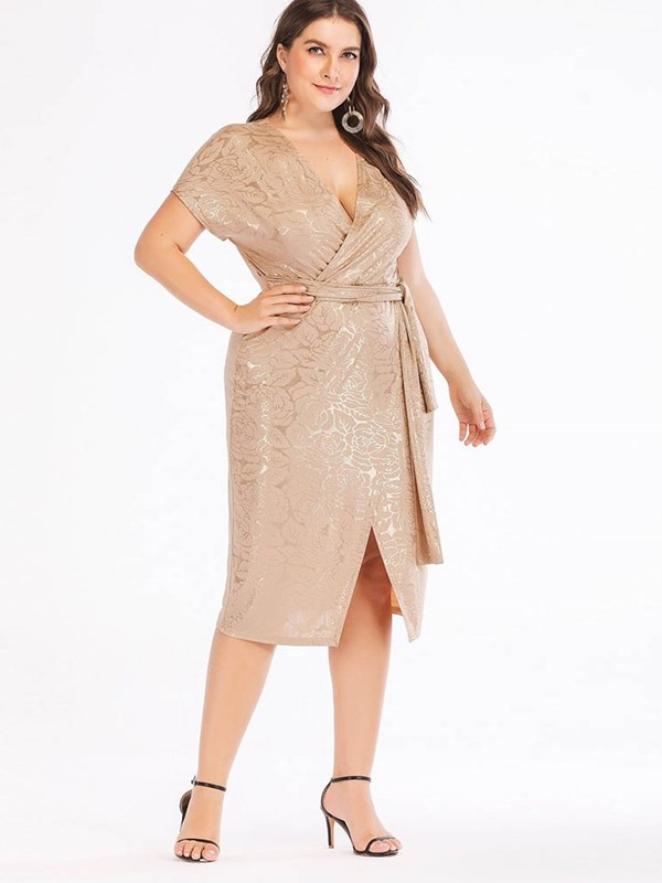 Plus Size V-Neck Lace-Up Mid-Calf Bodycon Pullover Women's Dress