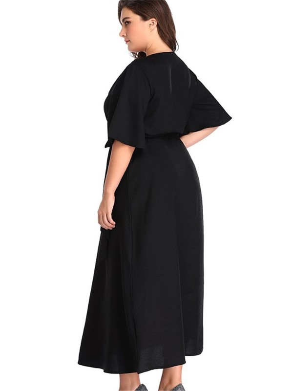 Plus Size V-Neck Half Sleeve Mid-Calf Pullover Casual Women's Dress