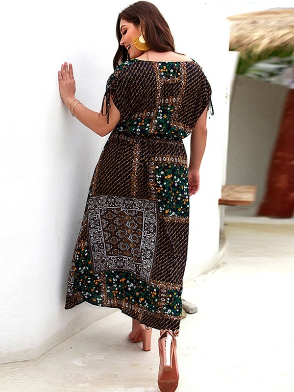 Plus Size V-Neck Split Short Sleeve Floral Standard-Waist Women's Dress