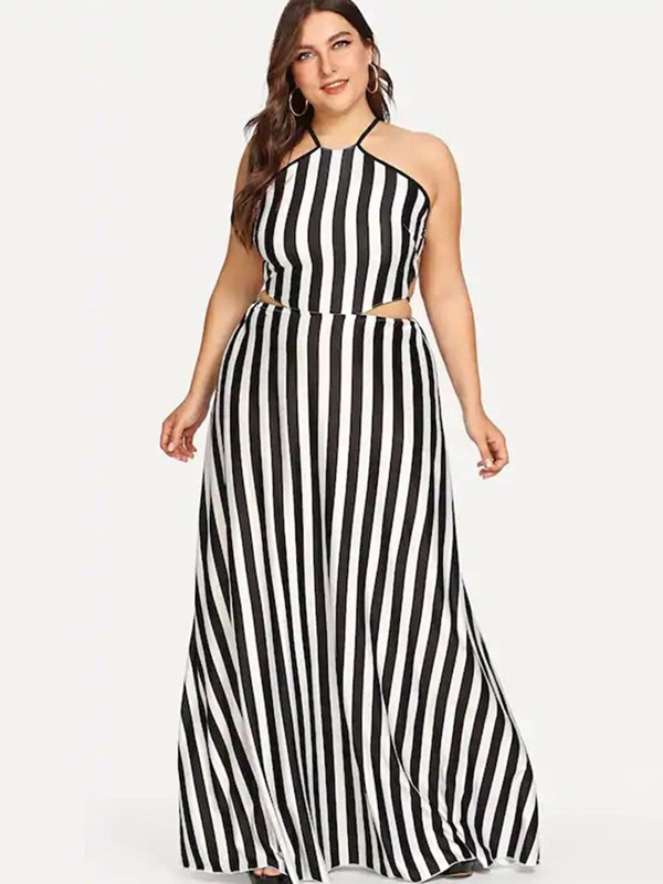 Lace-Up Sleeveless Floor-Length Plus Size Stripe Women's Dress