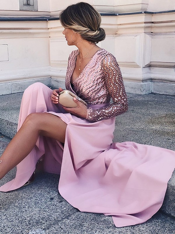 Long Sleeves Split-Front Mother of the Bride Dress 2019