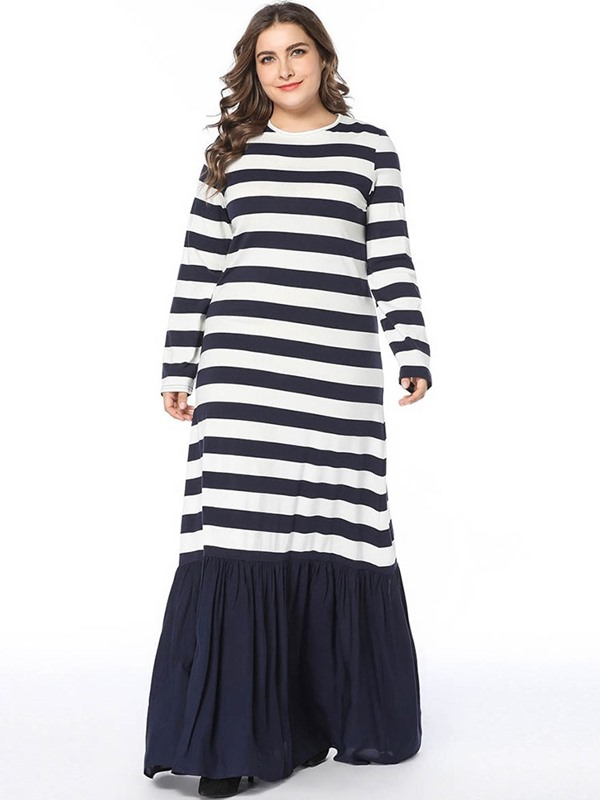 Floor-Length Patchwork Round Neck Stripe Women's Dress