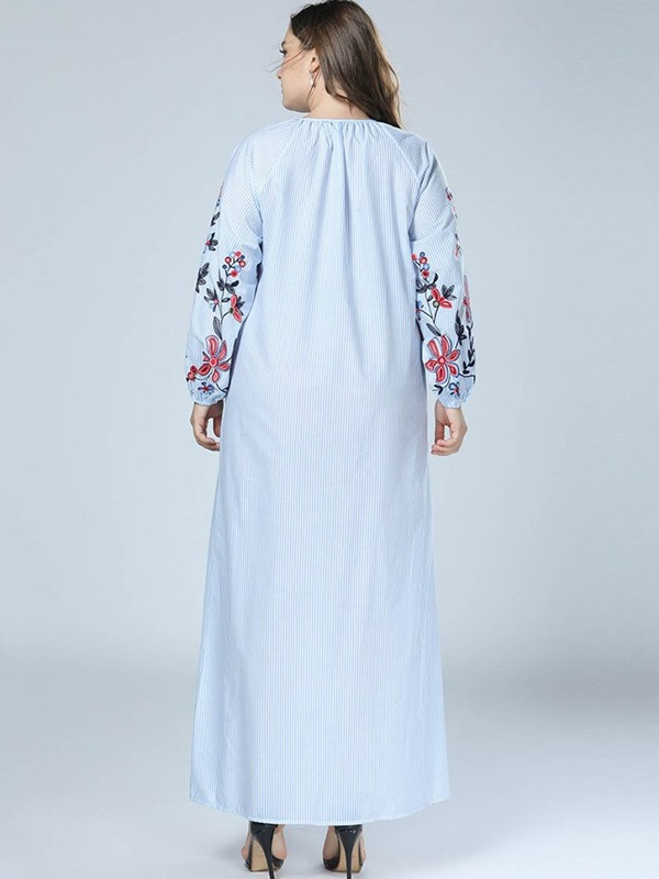 Lace-Up Ankle-Length Lantern Sleeve Pullover Women's Dress