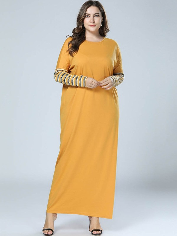 Plus Size Ankle-Length Long Sleeve Straight Pullover Women's Dress