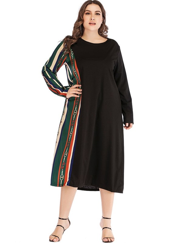Plus Size Long Sleeve Lace-Up Round Neck A-Line Women's Dress