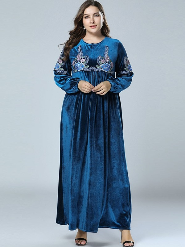 Embroidery Round Neck Ankle-Length Pullover Women's Dress