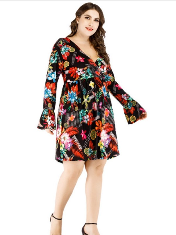 Plus Size V-Neck Long Sleeve Above Knee Pullover Women's Dress