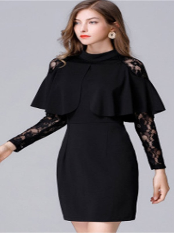 Stand Collar Long Sleeve Patchwork Plus Size Women's Dress