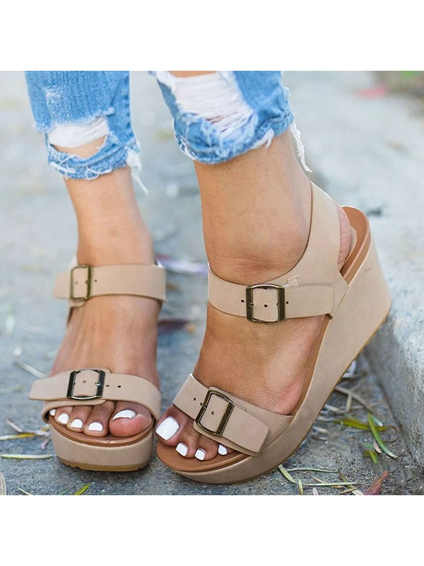 Ankle Strap Wedge Heel Open Toe Vintage Women's Sandals