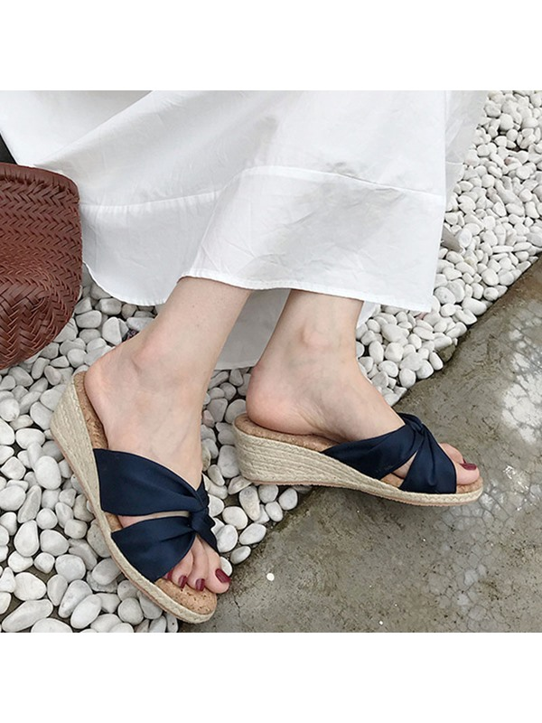 Slip-On Wedge Heel Cross Women's Slippers