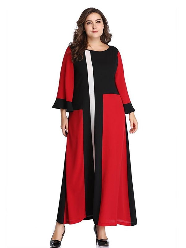 Plus Size Long Sleeve Ankle-Length Patchwork Pullover Women's Dress