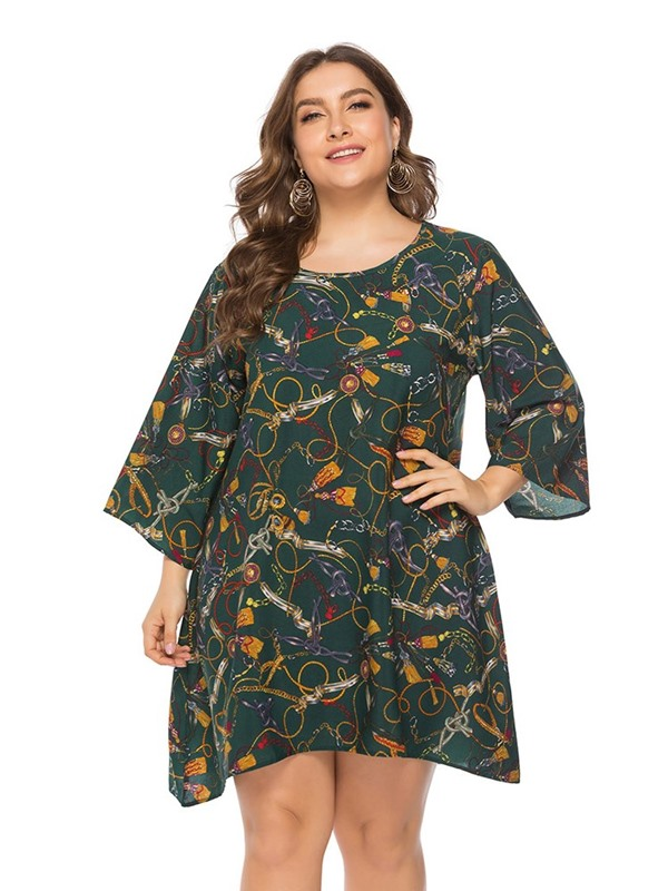 Plus Size Above Knee Print 3/4 Sleeve Pullover Geometric Women's Dress