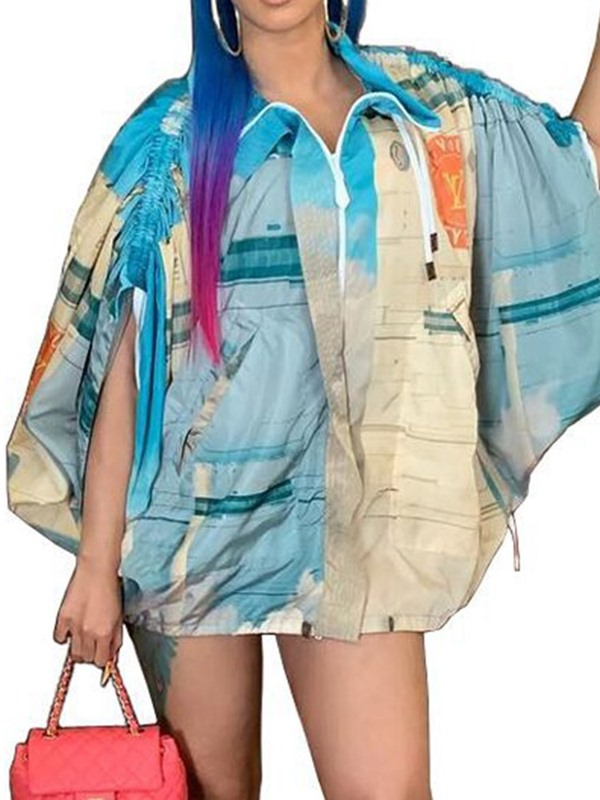 Print Mid-Length Batwing Fashion Women's Trench Coat