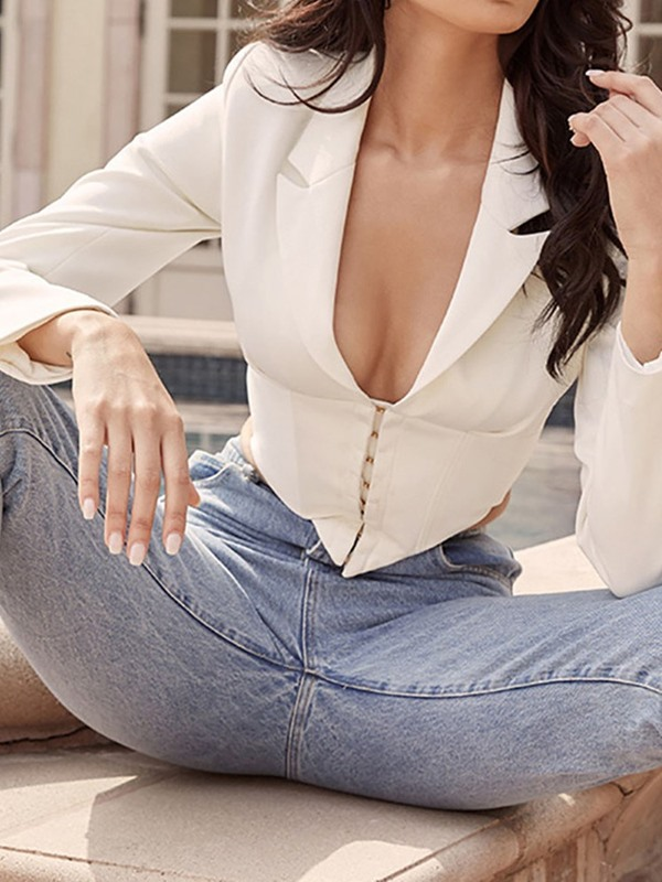 Double-Breasted Notched Lapel Long Sleeve Short Spring Women's Casual Blazer