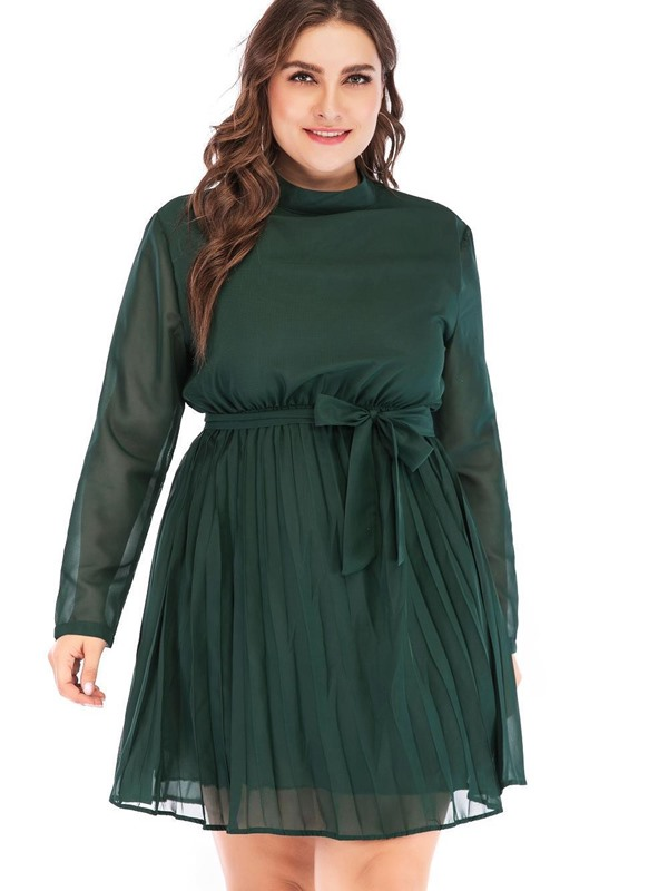 Long Sleeve Above Knee Mesh Plus Size A-Line Women's Dress