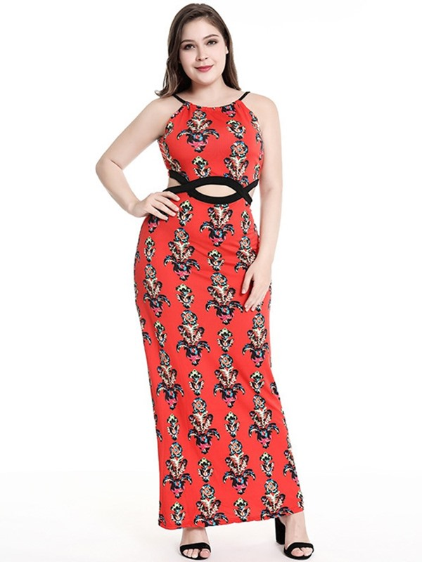 Ankle-Length Print Sleeveless Floral Plus Size Women's Dress