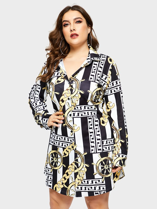 Long Sleeve Above Knee Print Women's Dress