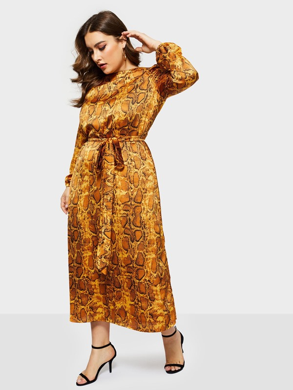 Ankle-Length Lace-Up Long Sleeve A-Line Pullover Women's Dress