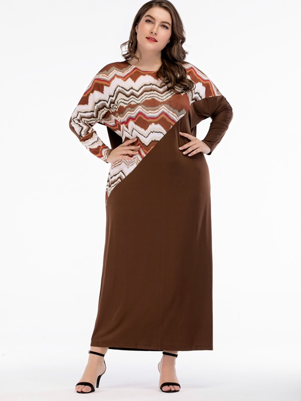 Ankle-Length Plus Size Pullover Women's Dress