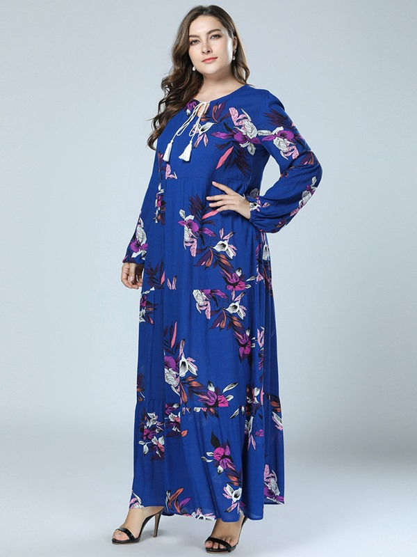 Long Sleeve Ankle-Length Print A-Line Women's Dress