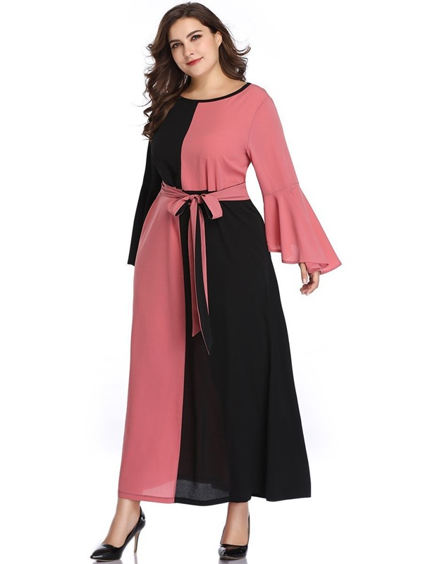 Long Sleeve Ankle-Length Plus Size Color Block A-Line Women's Dress