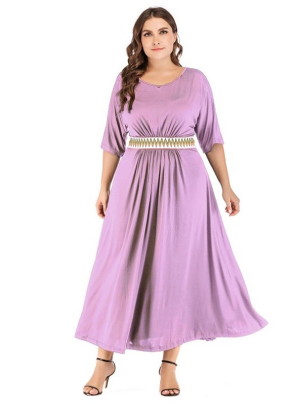 Half Sleeve Ankle-Length Patchwork Plus Size Women's Dress