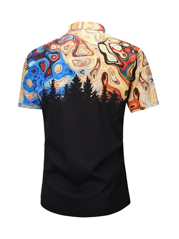 Fashion Color Block Print Short Sleeve Men's Shirt