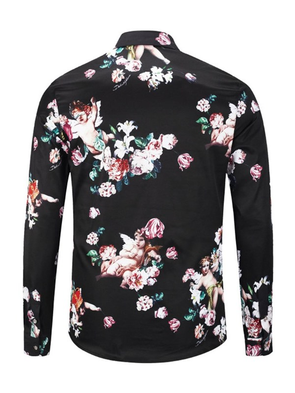 Floral Lapel Single-Breasted Men's Shirt