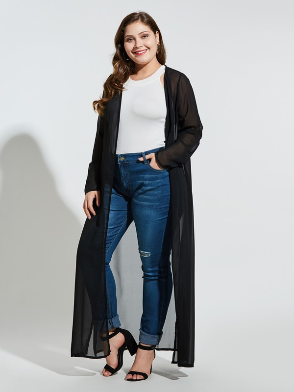 Plus Size See-Through Plain Long Sleeve Long Women's Blouse