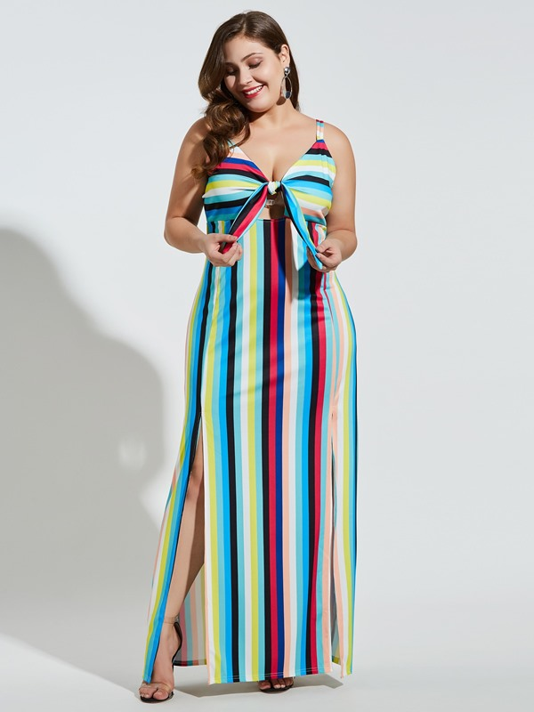 Ankle-Length Backless Plus Size Bodycon Women's Dress